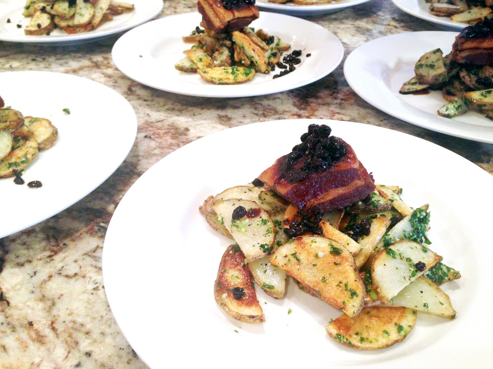 Crispy Pork Belly + Roasted Potatoes, Kale Pesto and Black Currants ...