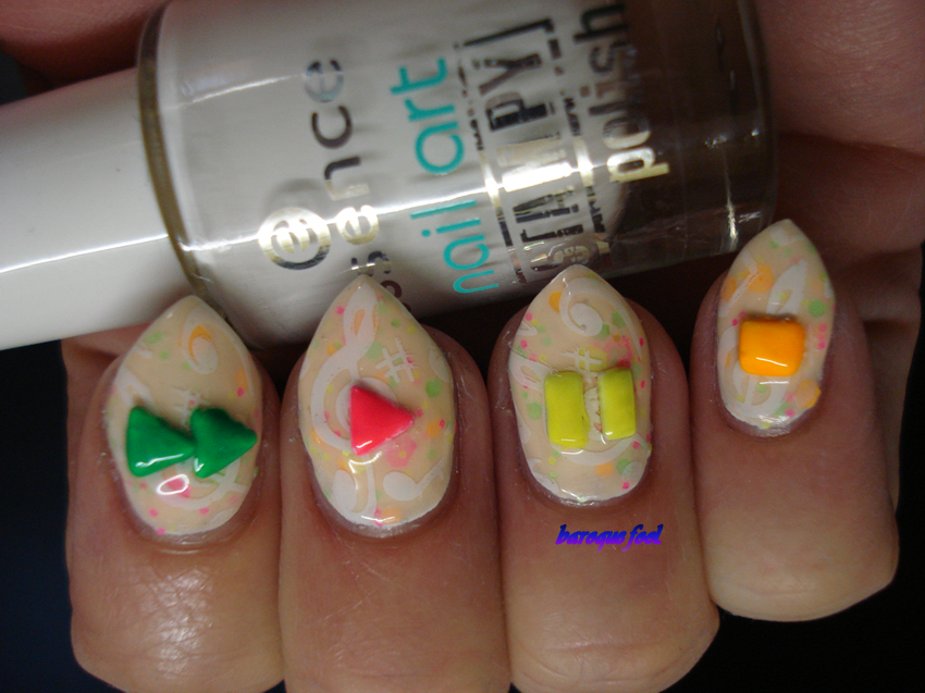 For This Mani You Need A Base Polish That Is Mine Also Features Neon Glitters Of The Same Colors As Nail Decorations