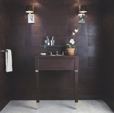 ann sacks piel leather tiles look so decadent - Leather Floor Tile