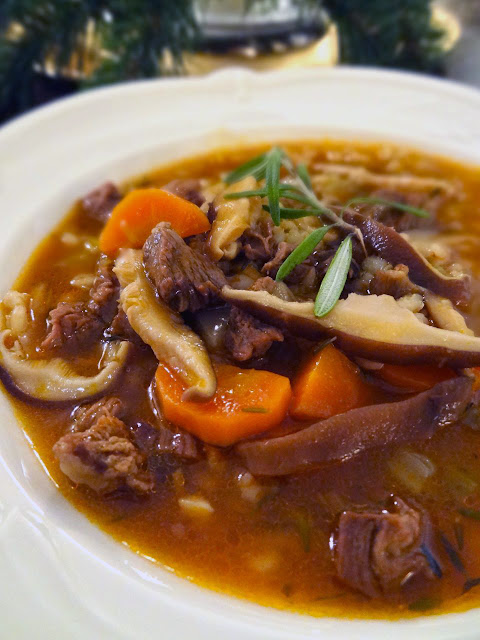 Scrumpdillyicious: Beef, Barley & Shiitake Mushroom Soup with Port