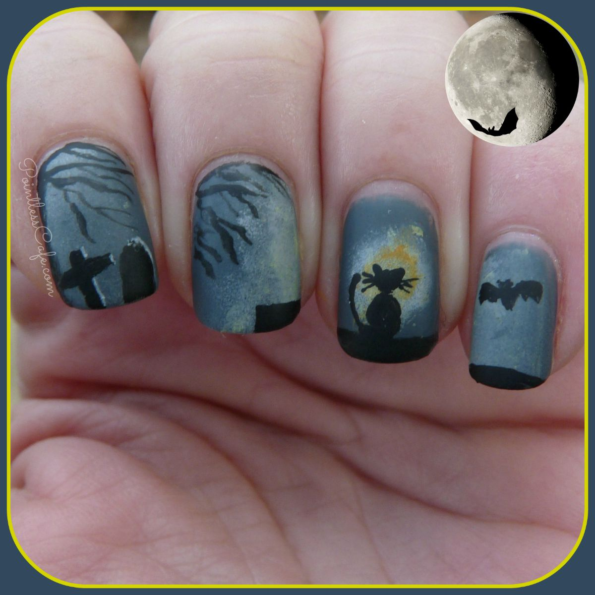 Halloween Nail Art. Black Cat in the Moonlight. For this one, I used a base  of Orly Decoded and the rest was done with acrylic paints. - Spooky Halloween Nail Art: Black Cat In The Moonlight Pointless Cafe