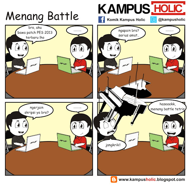 #056 Menang Battle game batle tetris ala mahasiswa kampus holic