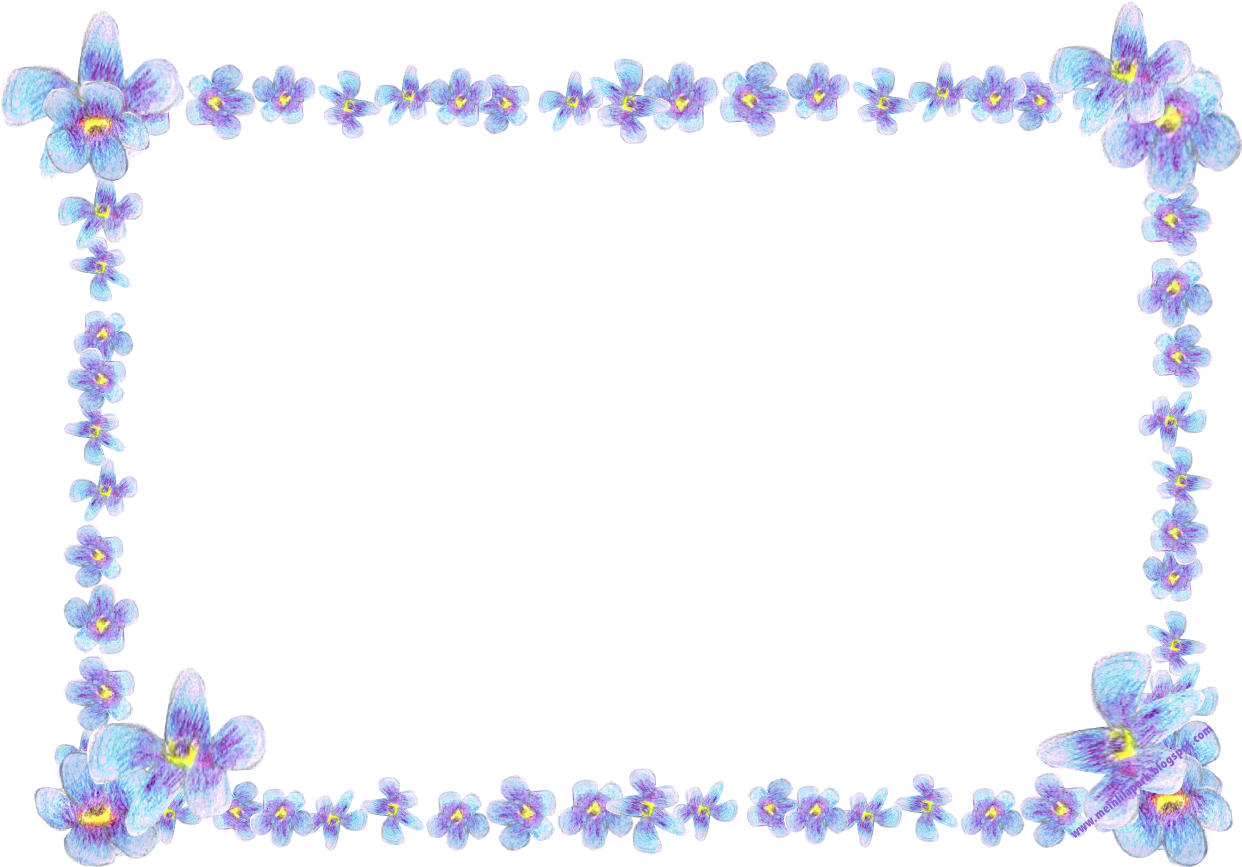 free digital blue flower frame: faux vintage forgetmenot frame