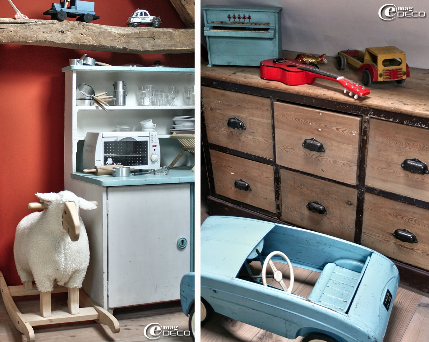 Dans une chambre d'enfant, un ancien meuble de grainetier et une voiture à pédales chinée
