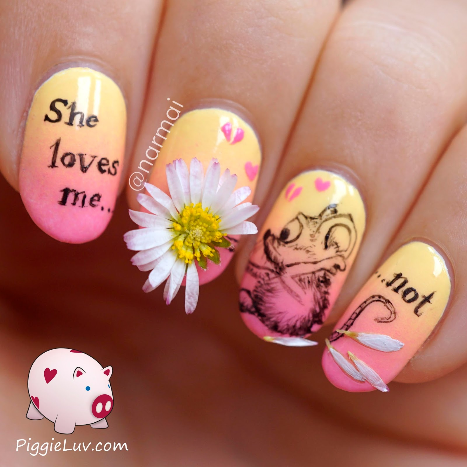 PiggieLuv: \'She loves me not\' nail art with REAL daisy