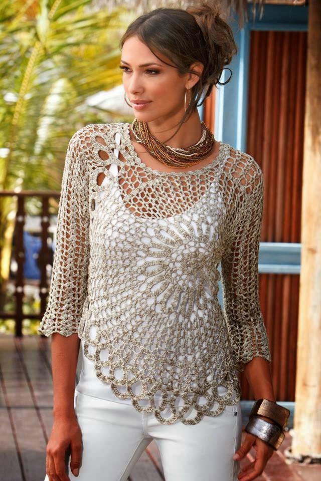 Blusa tejida al crochet con motivo circular con esquemas
