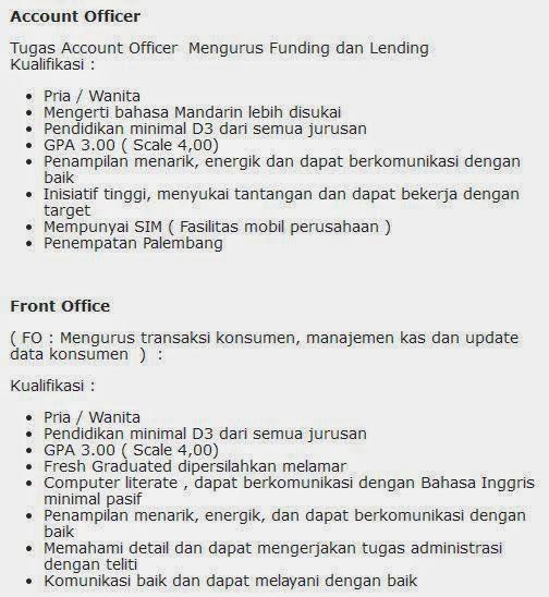 lowongan kerja bank maspion batam agustus 2014