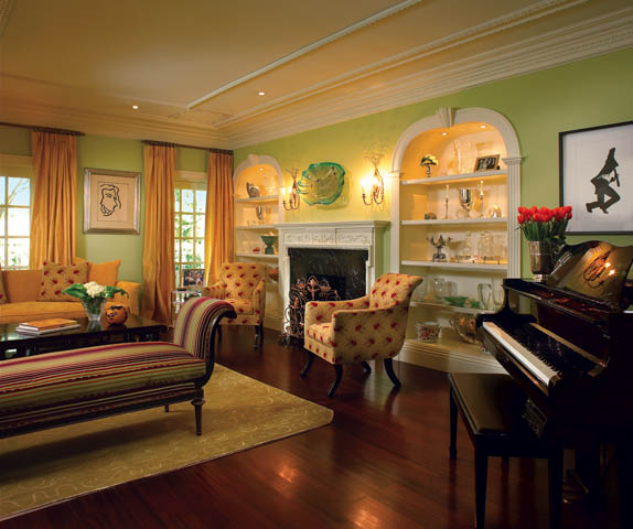 Green and Burgundy Living Room