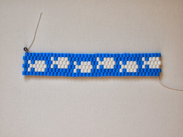 "finished ""fish"" perler bead bracelet"