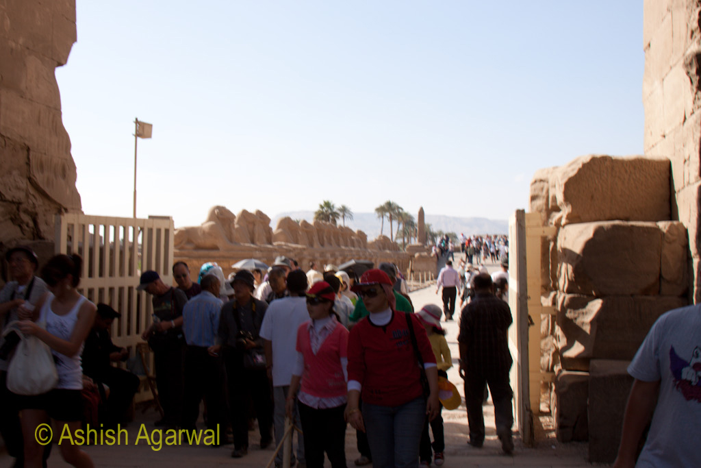 Tourists at the entrance to the Karnak temple in Luxor