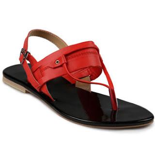 Sandal Kulit Wanita Model Japit Flat Tolliver Warna Merah