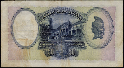Portuguese bank notes 50 Escudos banknote University of Coimbraat