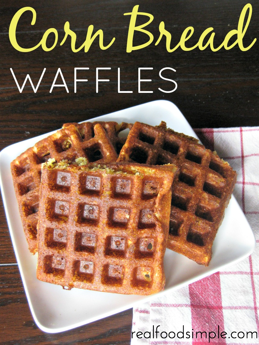 Corn bread waffles - This fun take on corn bread makes a great base for chili. And the best part? Only 5 real food ingredients. | realfoodsimple.com