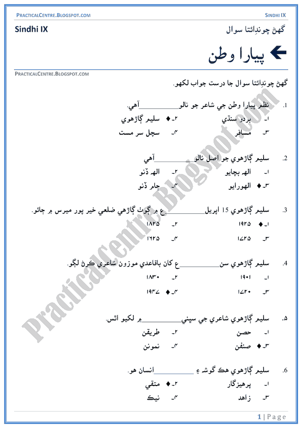 pyara-watan-multiple-choice-questions-sindhi-notes-ix