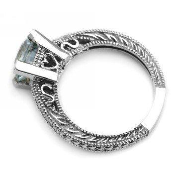 Princess-Cut AAA Blue Aquamarine Matching Engagement Wedding Ring Band ...
