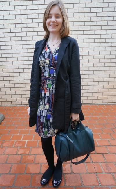 Away From Blue Aussie Blogger Leona Edmiston Paris Tassel print wrap dress and trench
