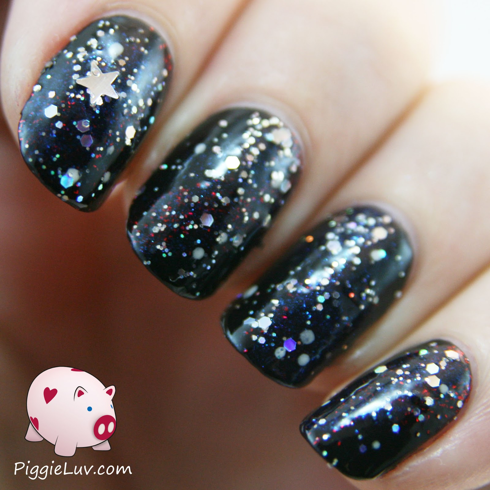 PiggieLuv: Galaxy nails with Kiss nail art kit