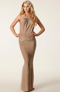 Backless, Chain Detail, Dress, Gathered, Gold, Halterneck, Hem Detail, Honor Gold, Jasmin Walia, Jersey, Maxi Dress, Sleeveless, Taupe, The Only Way Is Essex, TOWIE