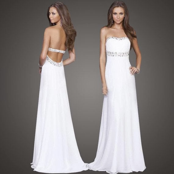 White Backless Strapless Open Back Floor Length Crystal Chiffon Evening Party Dress