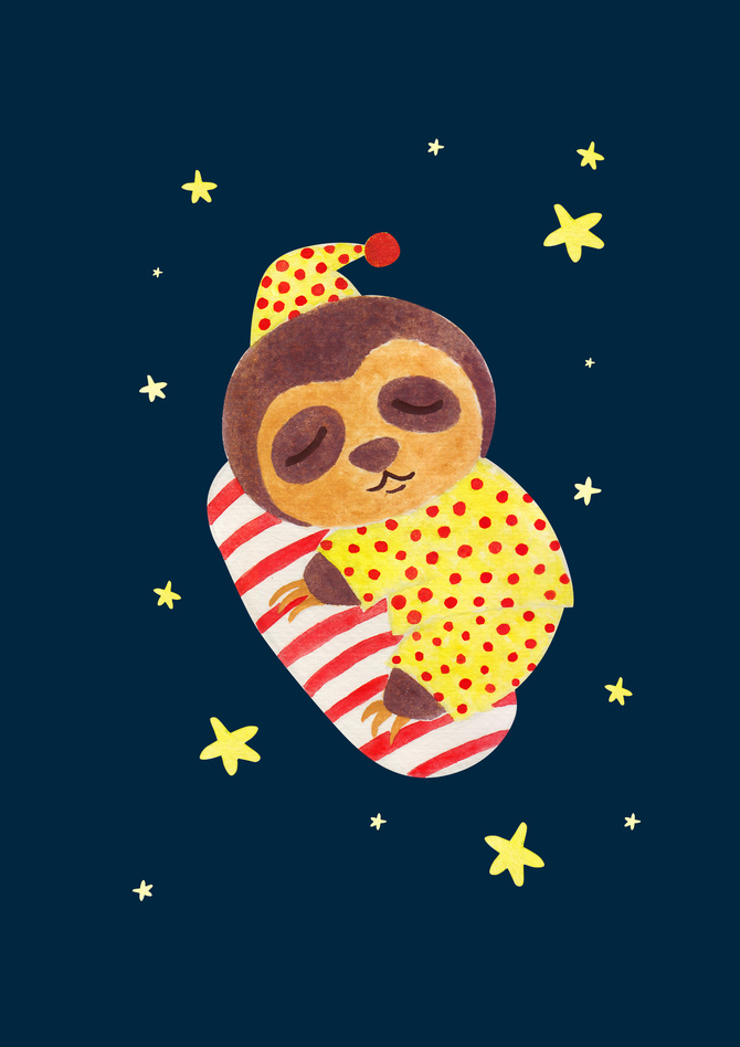Sleeping Like a Sloth Illustration Printed on Merchandise Illustration by Haidi Shabrina