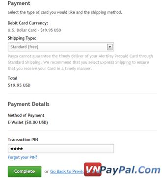 Đặt Mua và Active Thẻ Payza Prepaid Card