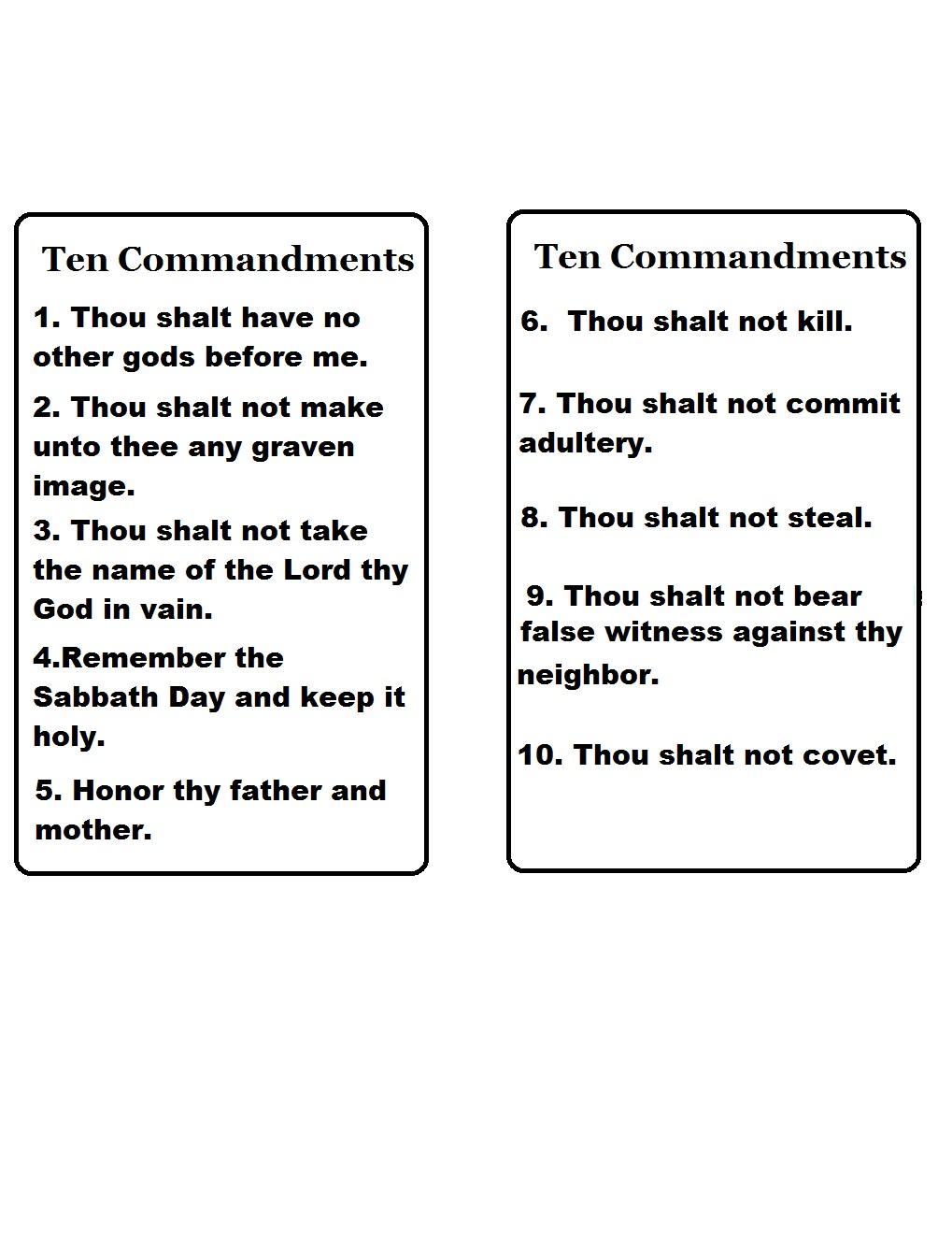 The Ten Commandments For Kids Ten commandments template