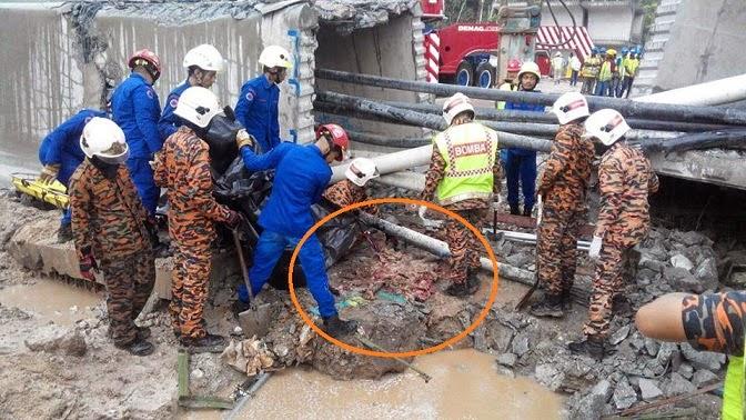 Ngeri 4 Gambar jasad mangsa di hempap konkrit MRT
