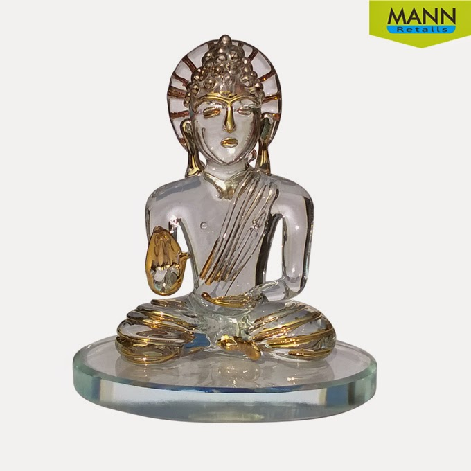 Mannretails Lord Buddha Gold Polished Glass Handicraft Idol