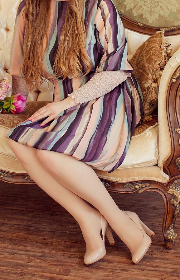 платье в полоску из шифона