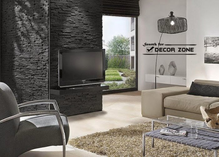 Dark stone wall panels in black and white living room design
