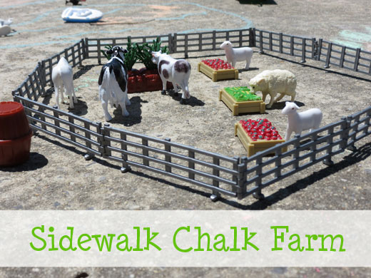 Play with farm animals and toys on a sidewalk chalk farm