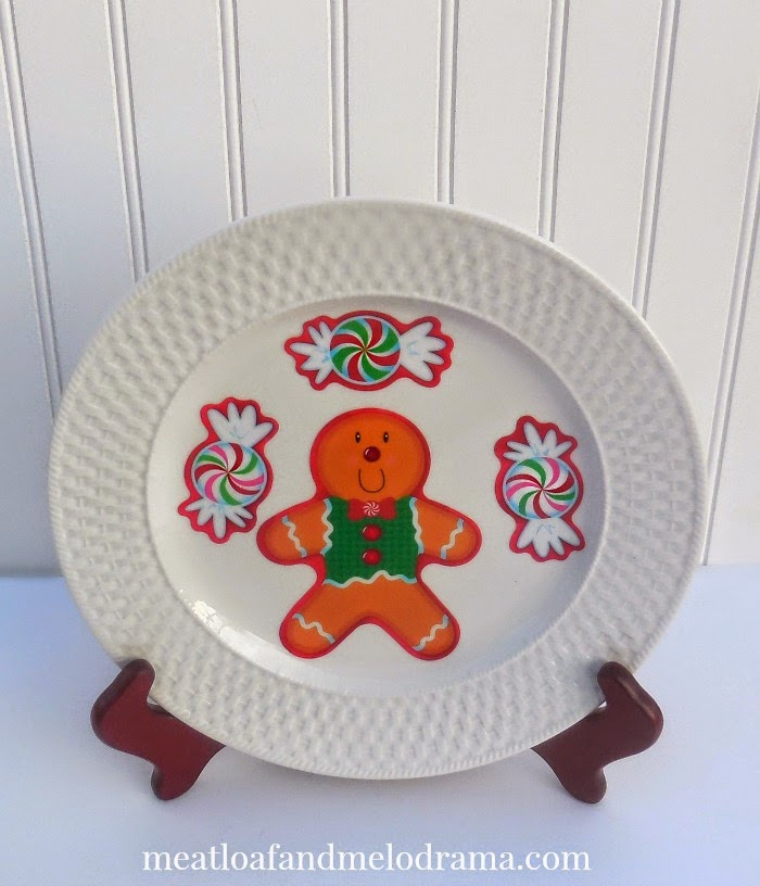 christmas plate made with gingerbread and peppermint window clings