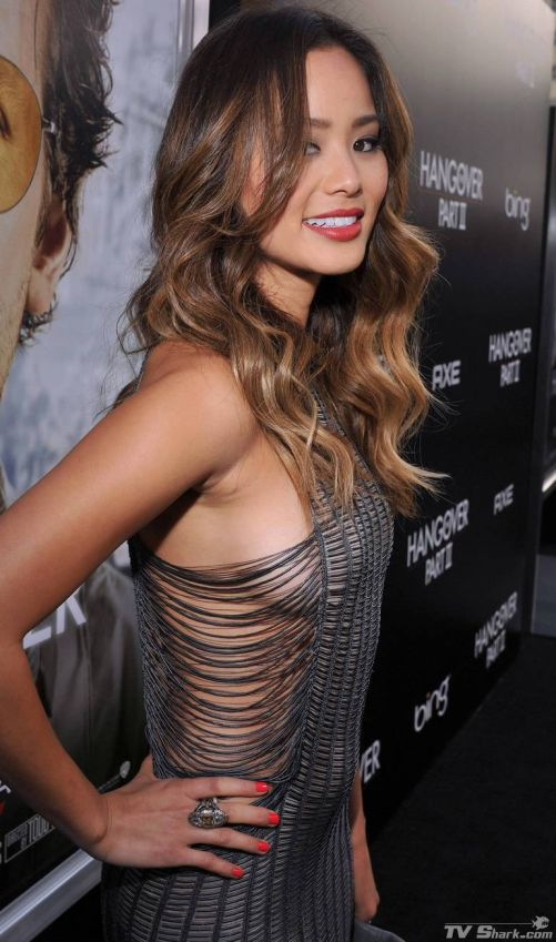 Jamie Chung In Chain Dress By Julien Macdonald At Hangover Premier
