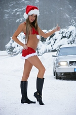 Santa's Beautiful Helper Verunka Is Naked Hitchhiking In The Snow