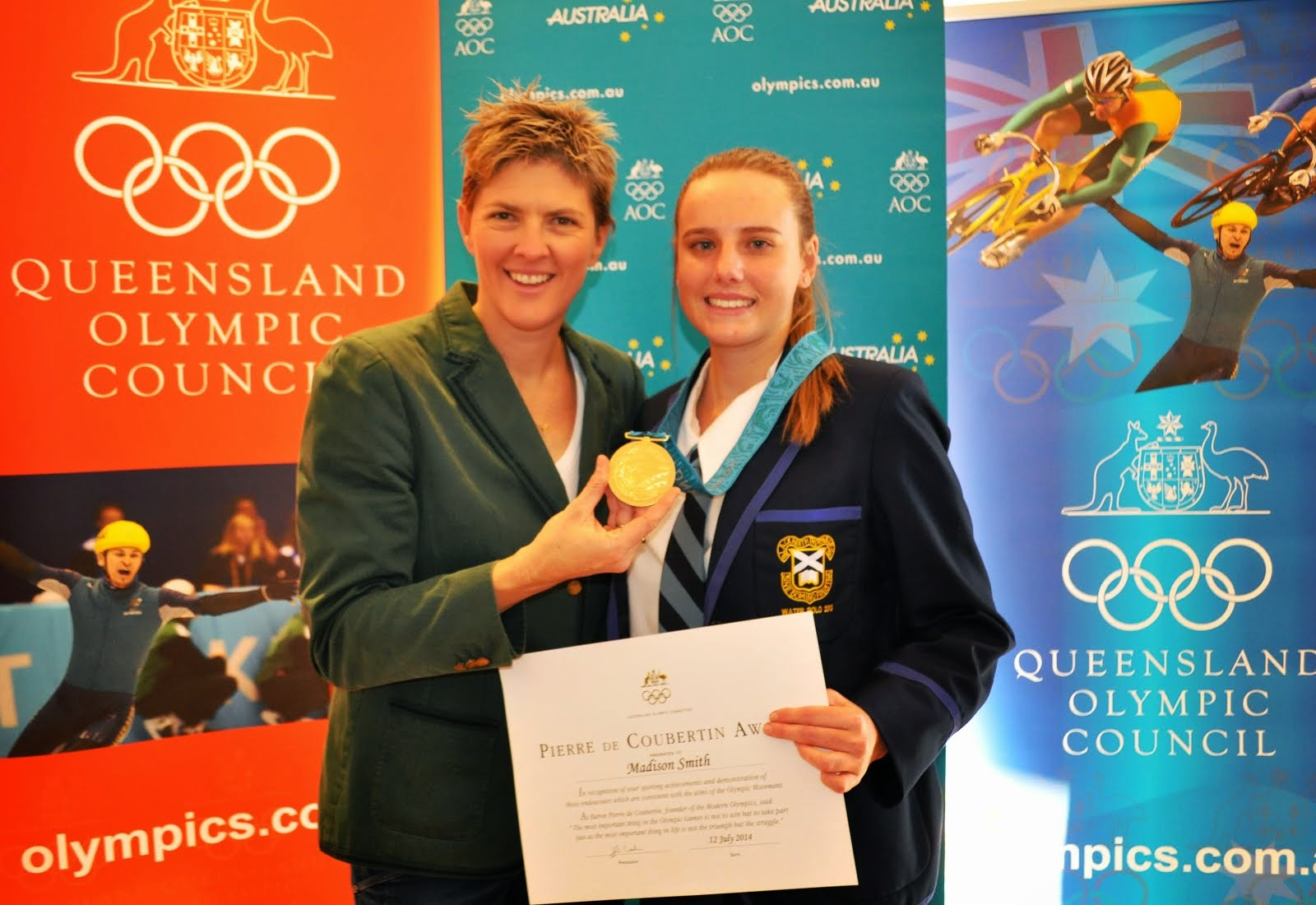 Madi Smith with Olympian Natalie Cook after receiving her Pierre De Coubertin Award