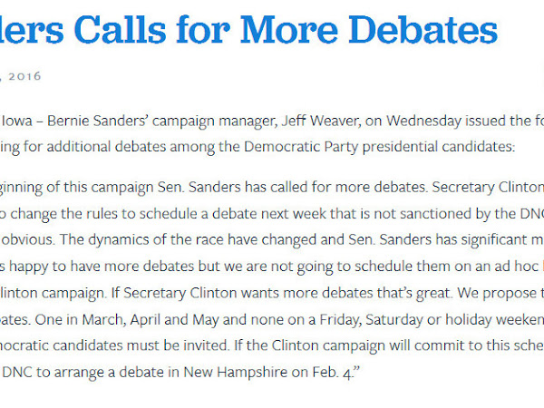 Sanders Asks For Four DNC Sanctioned Debates- Not On Friday, Saturday, or Holidays