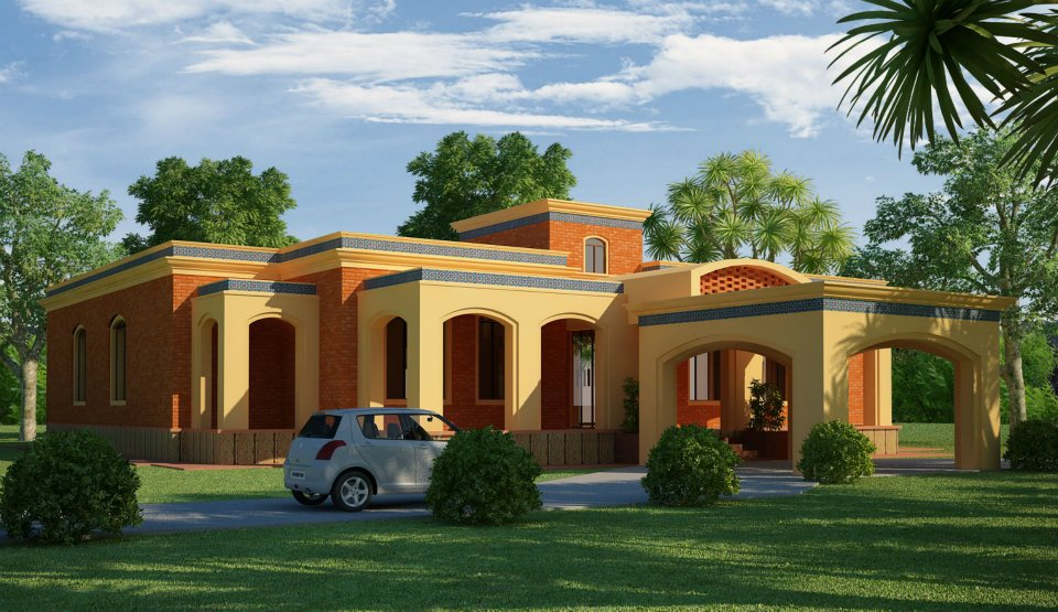 3d front lahore pakistan 3d front elevation for Farm house model