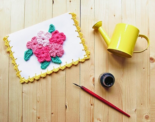 free crochet pattern floral theme mother's day card