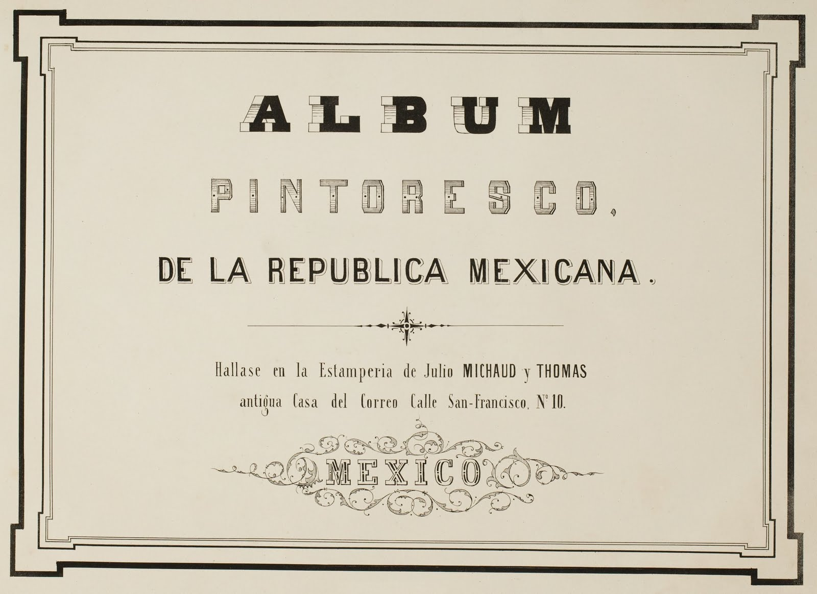 title page from Mexican album of lithographs 1850