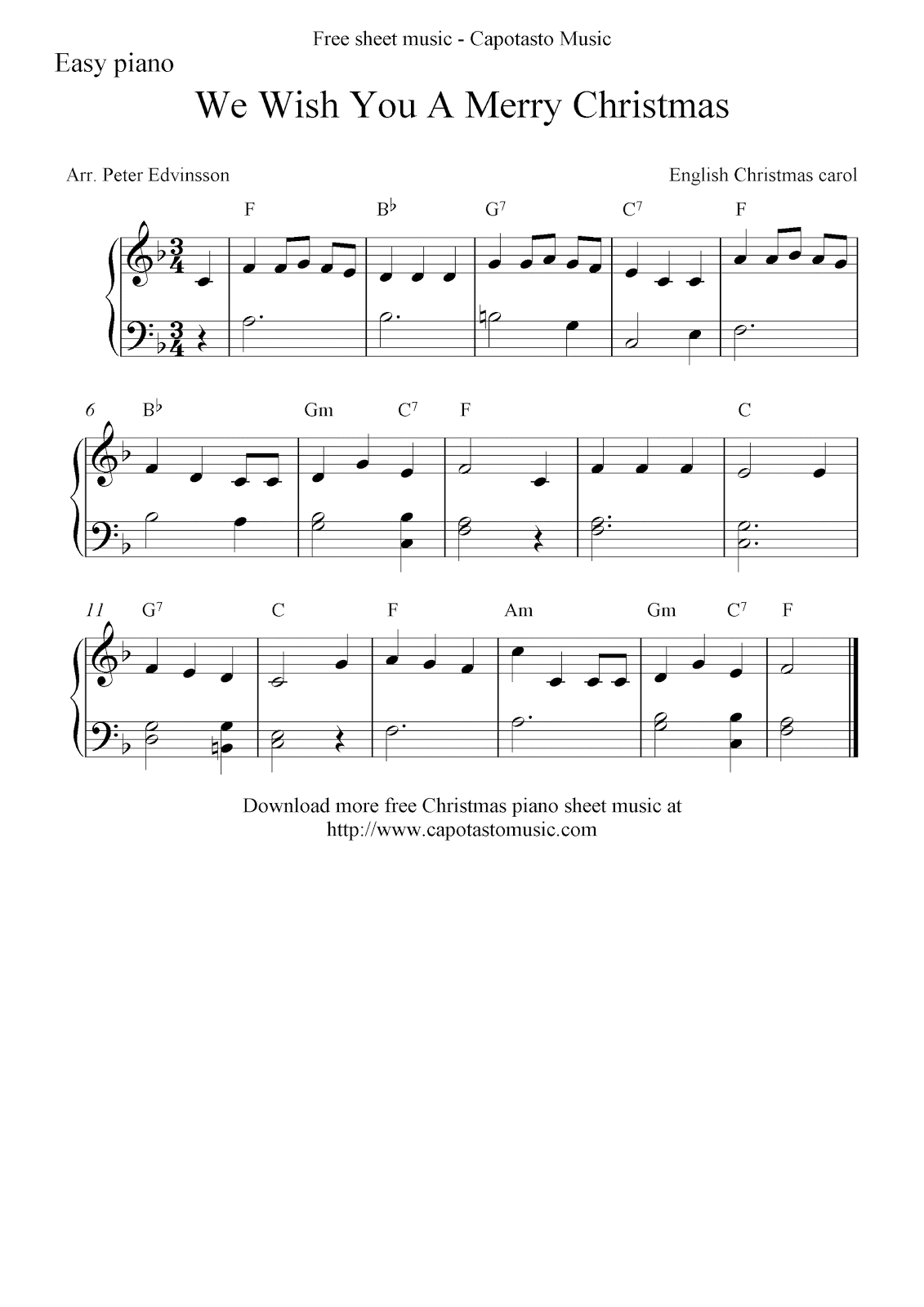 ... Christmas sheet music for easy piano, We Wish You A Merry Christmas