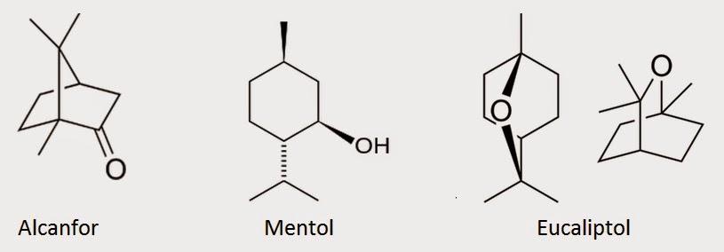 camphor menthol eucalyptol structures