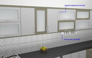 furniture semarang - desain kitchen set minimalis pintu kaca engsel hidrolis 04