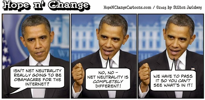 obama, obama jokes, political, humor, cartoon, conservative, hope n' change, hope and change, stilton jarlsberg, net neutrality, fcc, fec
