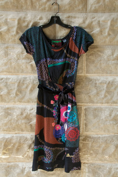 Printed knit dress with velvet belt, S-XL, $88