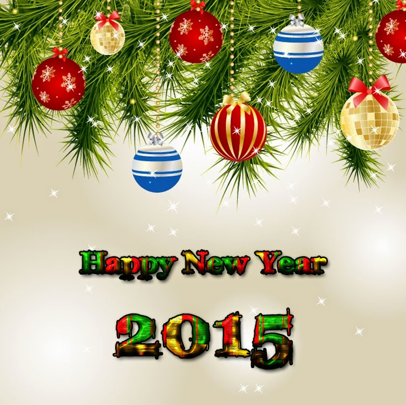 Colorful Balls Happy New Year Greeting Cards 2015 Images