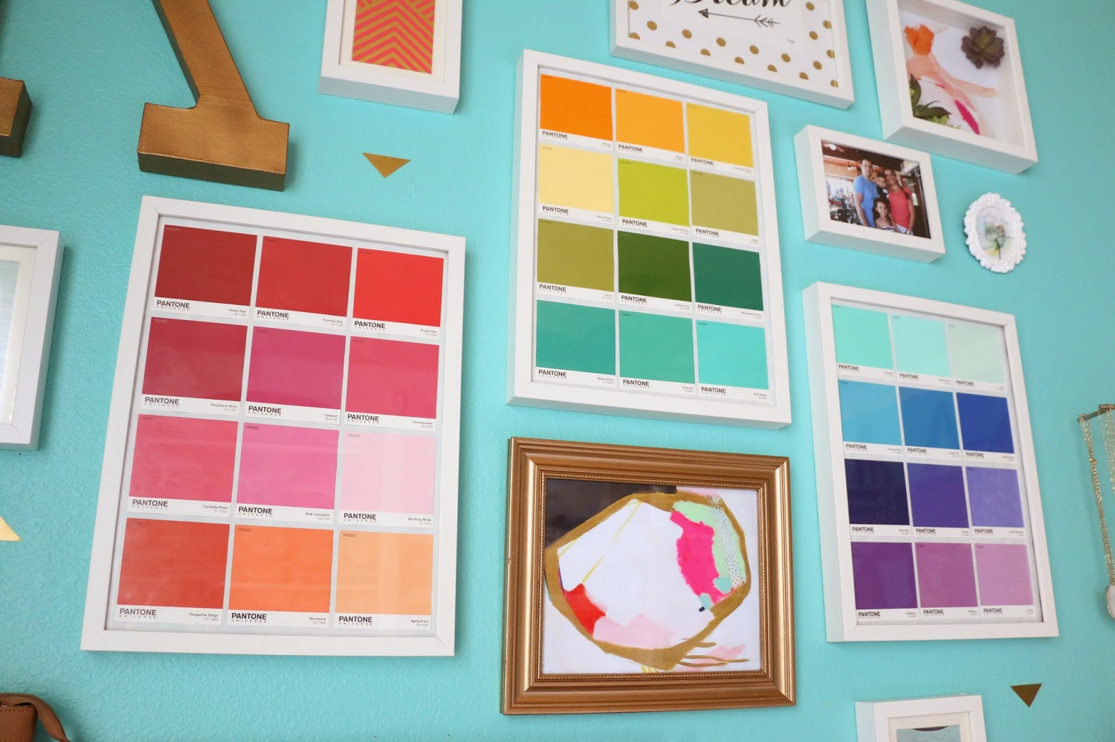Color of art gallery walls - One Of My Favorite Custom Art Pieces That I Added Were These Three Framed Pantone Color Swatch Sheets I Actually Picked These Up From Lowes In Their Paint