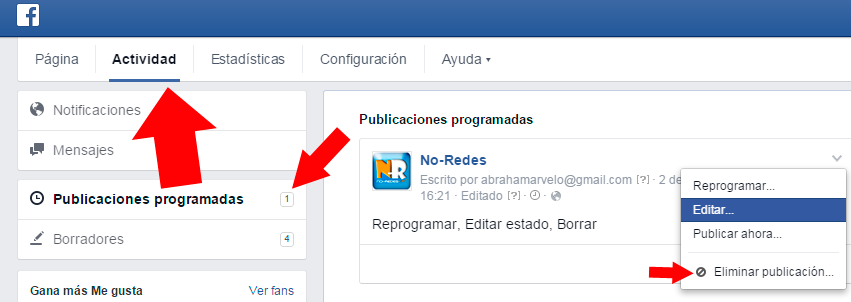 Editar, borrar o cambiar la hora de una publicación programada en Facebook