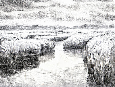 Katherine Kean, ALmost Raining, Great marsh, drawing, Cape Cod