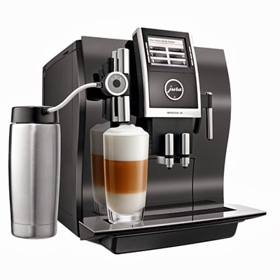 Jura Impressa Z9 with milk carafe attached and making cappucino