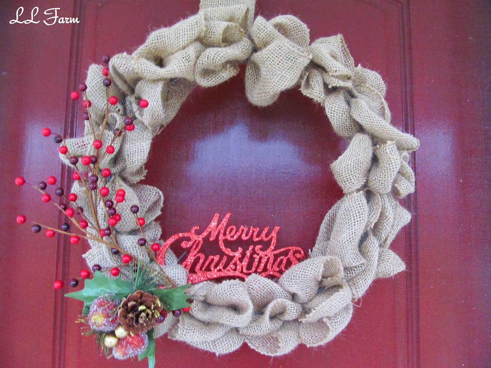 how to make a red burlap christmas wreath